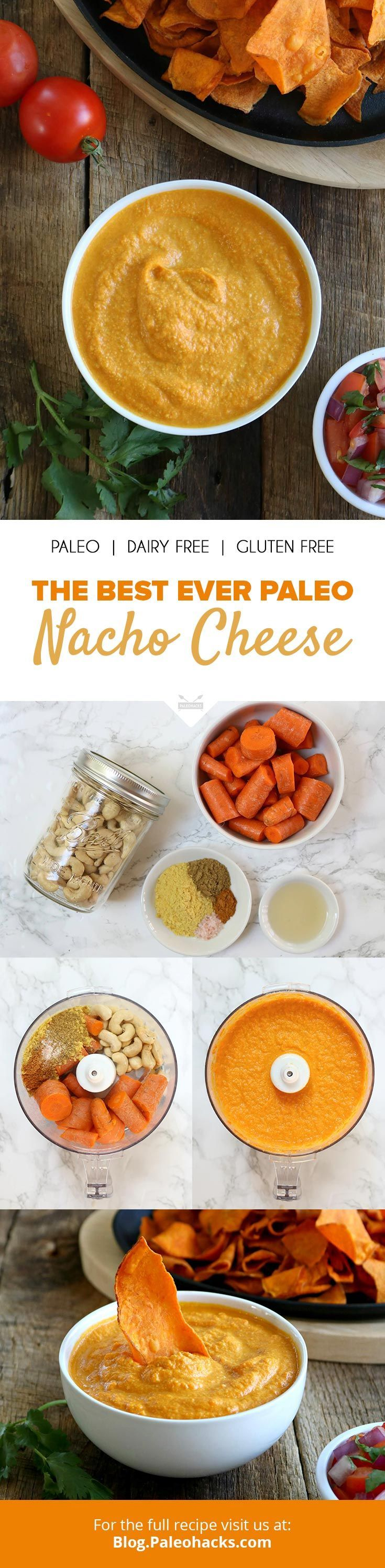 Drizzle this creamy nacho cheese sauce over everything from tacos to veggie chips! Get the full recipe here: http://paleo.co/paleonachocheese