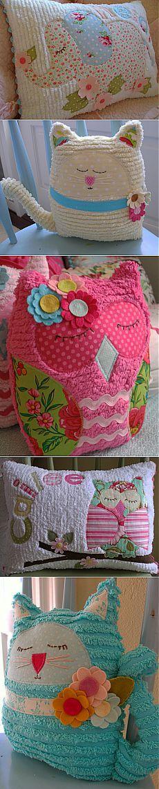 Декоративные винтажные, детские подушки и игрушки в технике синель