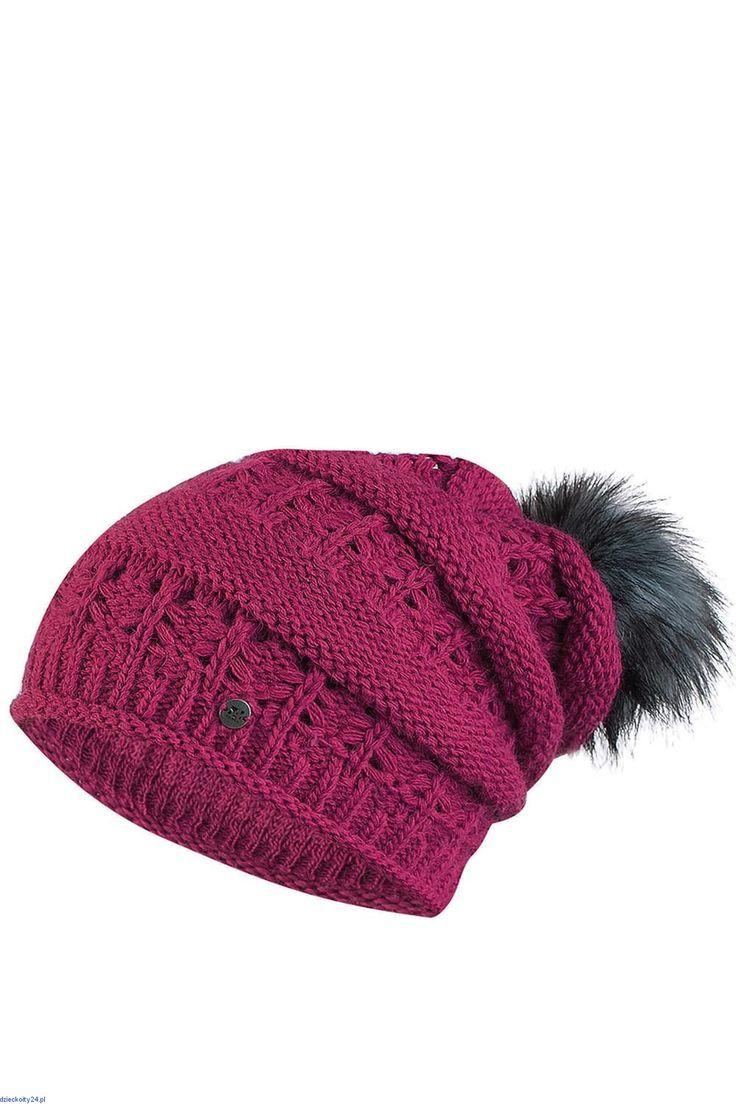 Ciepła czapka modna wełniana z pomponem lekko zwisająca do tyłu Liana