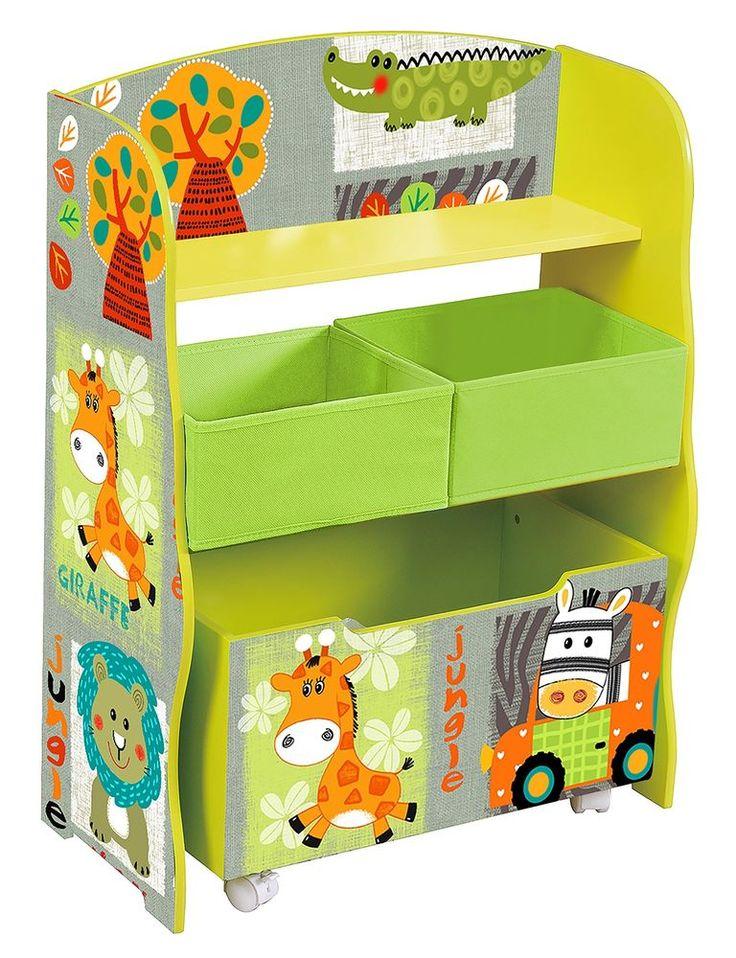 wooden kids toy organiser storage wheel chest shelf green