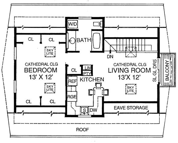 garage apartment - for rental income or space for kids to stay while in school - take away linen/pantry closet to open space more, add linen storage above toilet, and make sure cabinets go to ceiling to reduce need for pantry