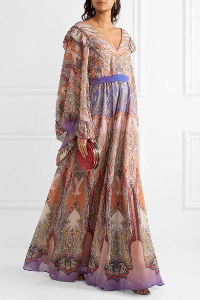 Etro - Ruffled Printed Silk-georgette Gown - Blush - IT44