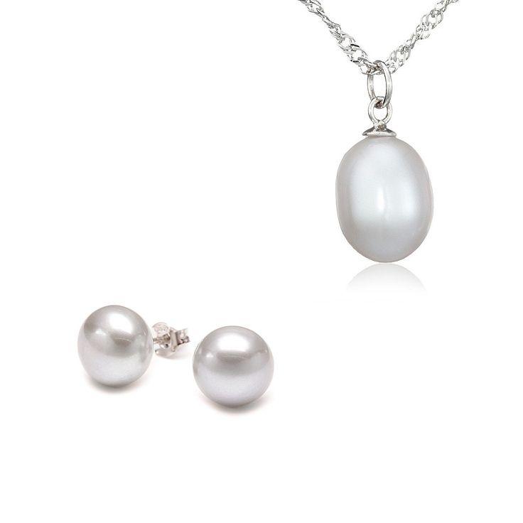Set Sakura Pearl cercei, pandantiv și lanț argint cu perle de cultură gri argintiu