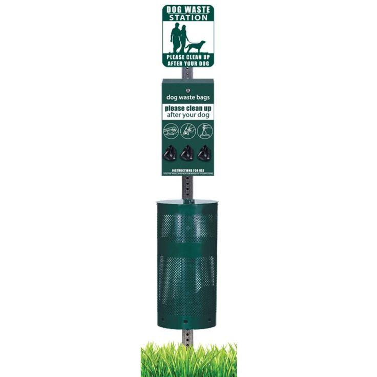 Upbeat Dog Waste Station with Round Perforated Can and