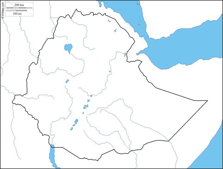 Ethiopie : carte géographique gratuite, carte géographique muette gratuite, carte vierge gratuite, fond de carte gratuit : littoraux, limites, hydrographie