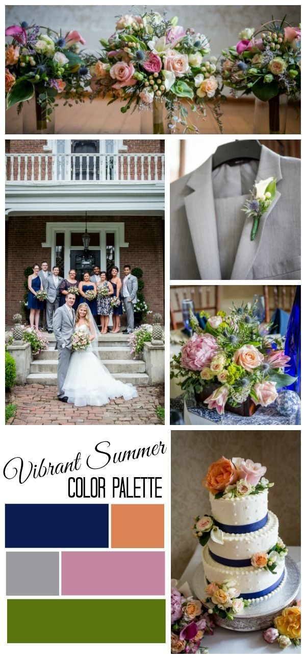 A Vibrant Flower-Filled Wedding | Jessica + Timothy info@warrenwoodmanor.com Vibrant Summer Color Palette, Blue, Grey, Pink, Peach and Green, Photos by Jessica Moore Photography