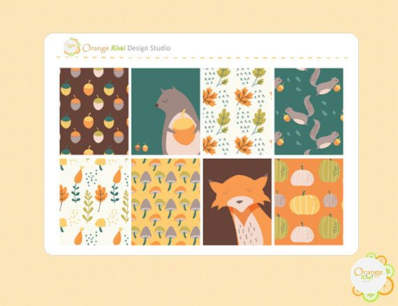 Fall Full Box Stickers Fall Planner Stickers Autumn Planner