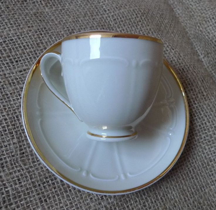 Scandinavian Pottery Upsala Ekeby Karlskrona Sweden KP Cup & Saucer White Gold