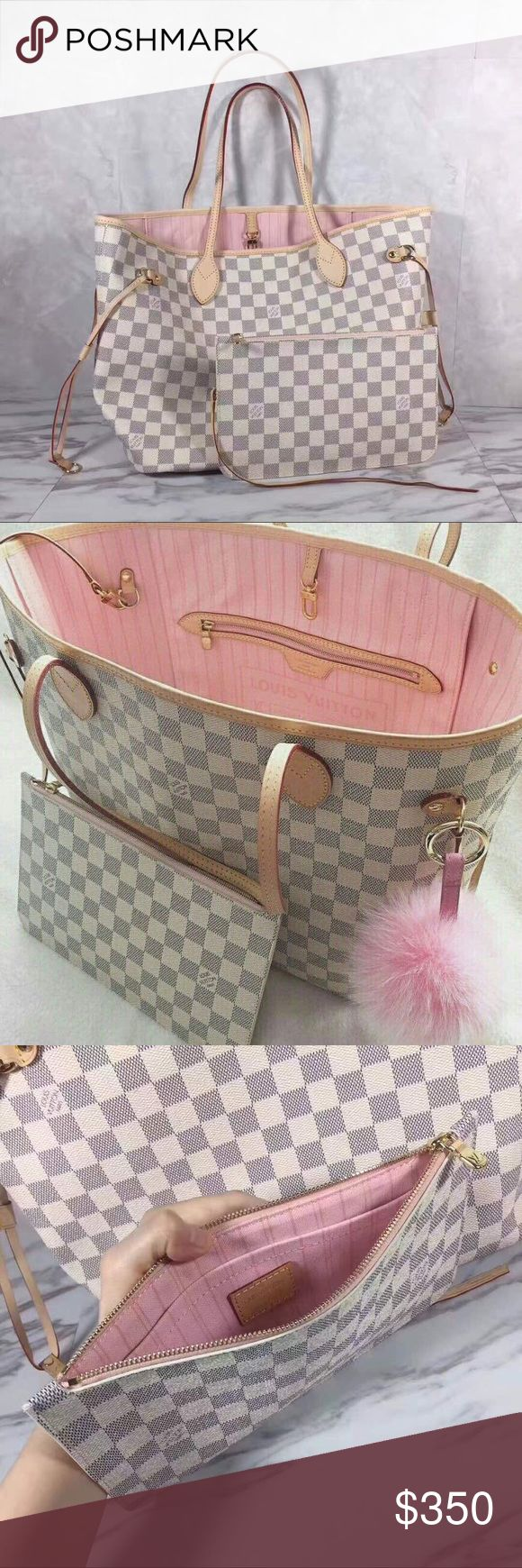 **DO NOT BUY ~ PRE ORDER ONLY** this is an absolutely flawless bag  style : neverfull  damier azur canvas with pink interior ! ❤️ comes with dust bag!  available for pre order (️️ ONLY) , this bag is very nice  please don't ask the o b v i o u s  xoxo {FREE SHIPPING } Louis Vuitton Bags Shoulder Bags