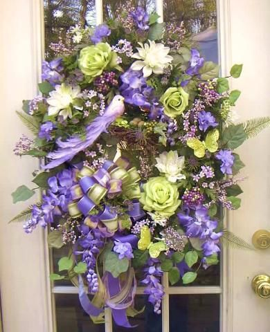 Green and purple Floral wreath