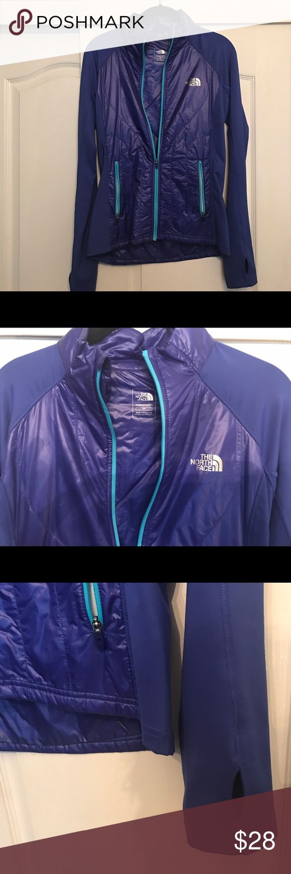 North Face Track Jacket Bright blue North Face track jacket! Only been worn a couple of times, great condition. With keyhole details on sleeve. Great for outdoor sports activity! Size Small. North Face Jackets & Coats