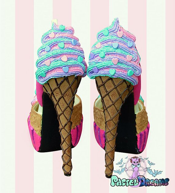 Cupcake  icecream cone custom made heels shoes by PastelDreamShoes