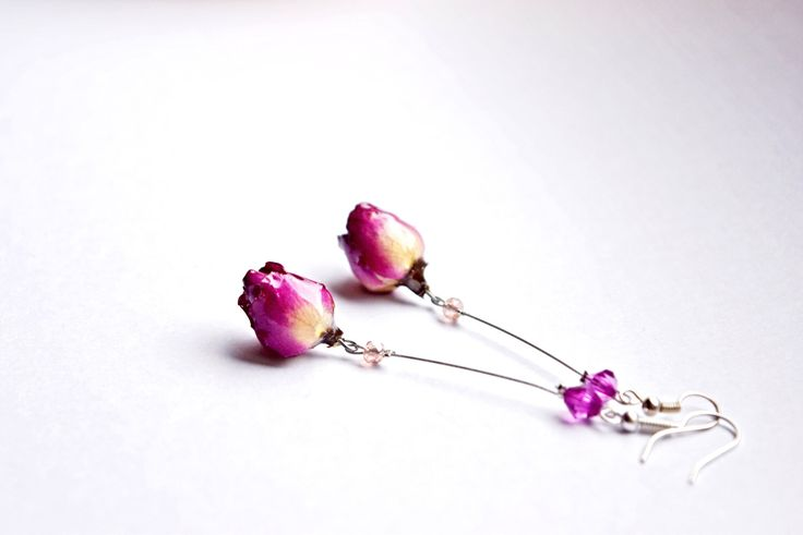 Long dangle jewelry real Rose earrings, Botanical gift for her, OOAK jewelry, Pink rose gift for Girlfriend, Unique Gift in pink for woman by ArtOreCrafts on Etsy https://www.etsy.com/listing/269246918/long-dangle-jewelry-real-rose-earrings
