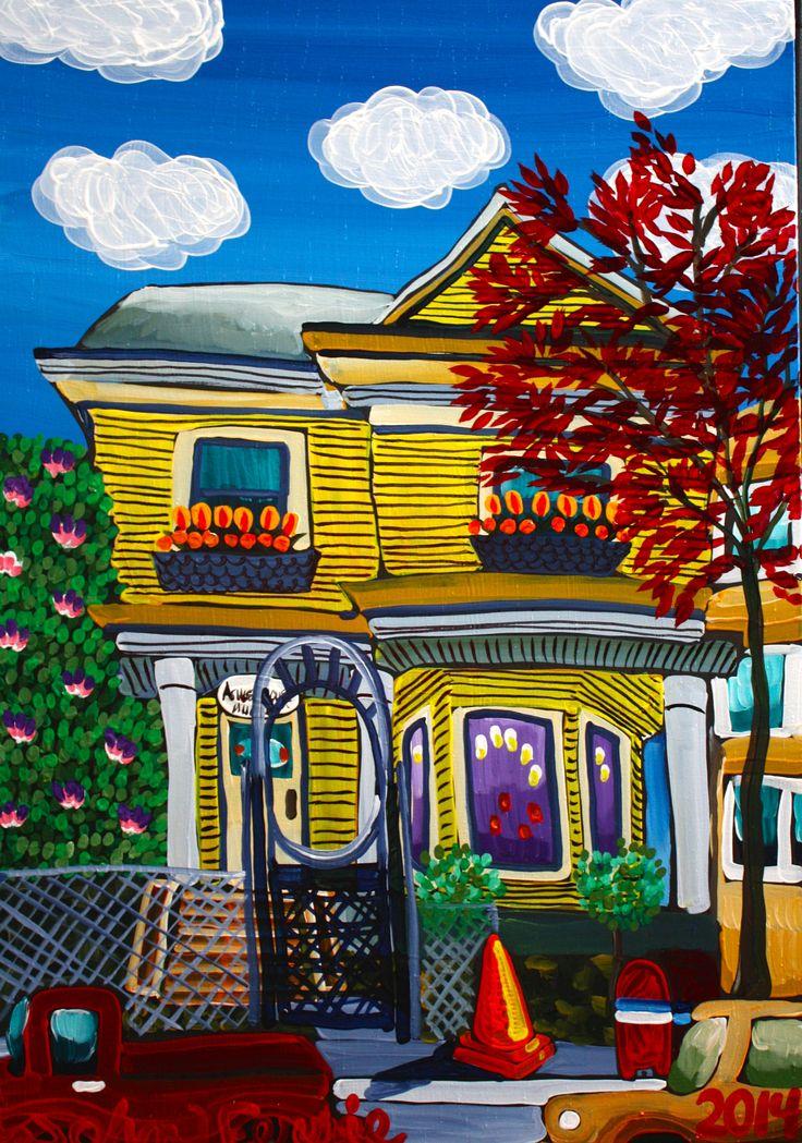 "Ashley House, 28"" x 40"", acrylic on canvas with KRink, 2014"