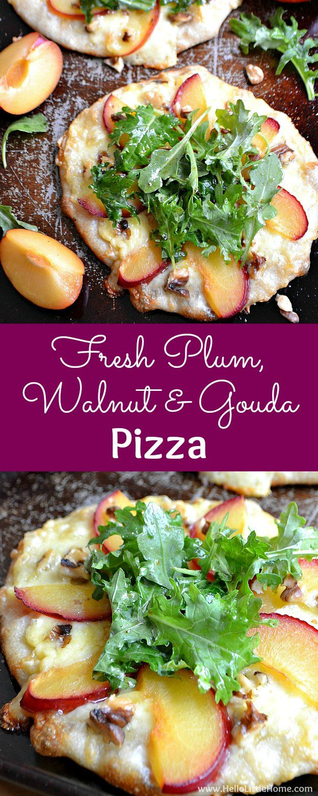 Fresh Plum, Walnut, and Gouda Pizza recipe! Learn how to make this unique, gourmet pizza recipe that's perfect for summer entertaining. This creative and easy vegetarian pizza recipe is topped with fresh fruit, crunchy walnuts, flavorful gouda cheese, and