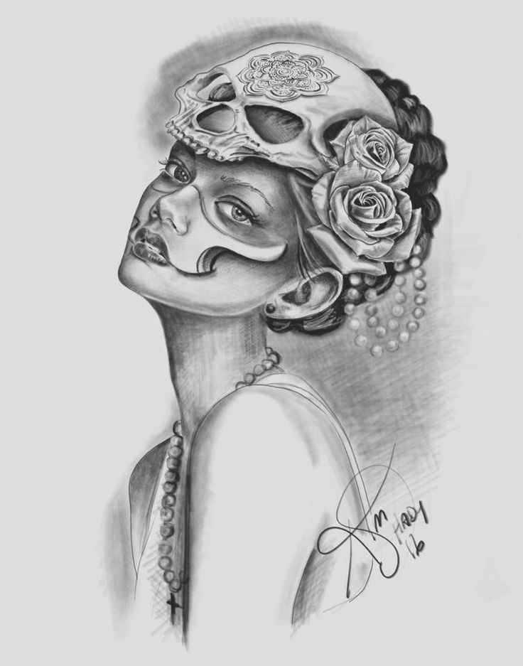 Portrait. Day of the dead girl. Skull. Tattoo design. Drawing by Kim Shady @ Custom Creations Tattoo and Art Studio.
