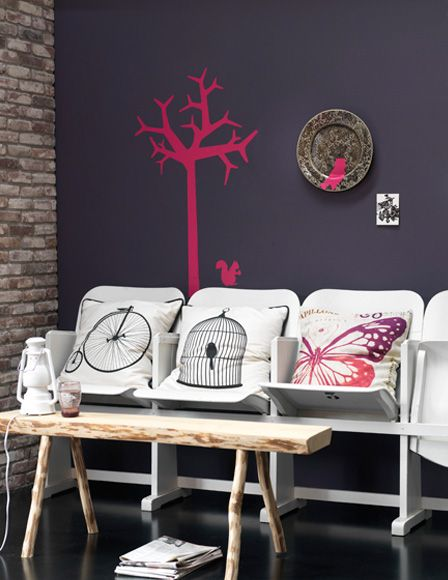 Pink tree design on wall