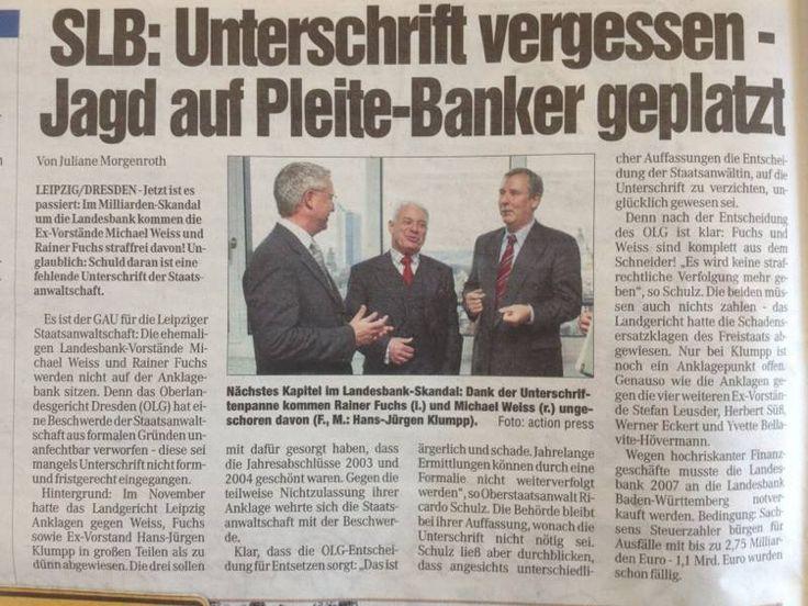 Nun ist es amtlich, die ehemaligen Bänker der Landesbankvorstände können nicht belangt werden, da die Unterschrift der Staatsanwaltschaft fehlt und dem zufolge wies das OLG Dresden die Beschwerde wegen nicht form- und fristgerecht ab. - Tja so ist das nun mal mit den Unterschriften elektronisch erstellt und damit gültig