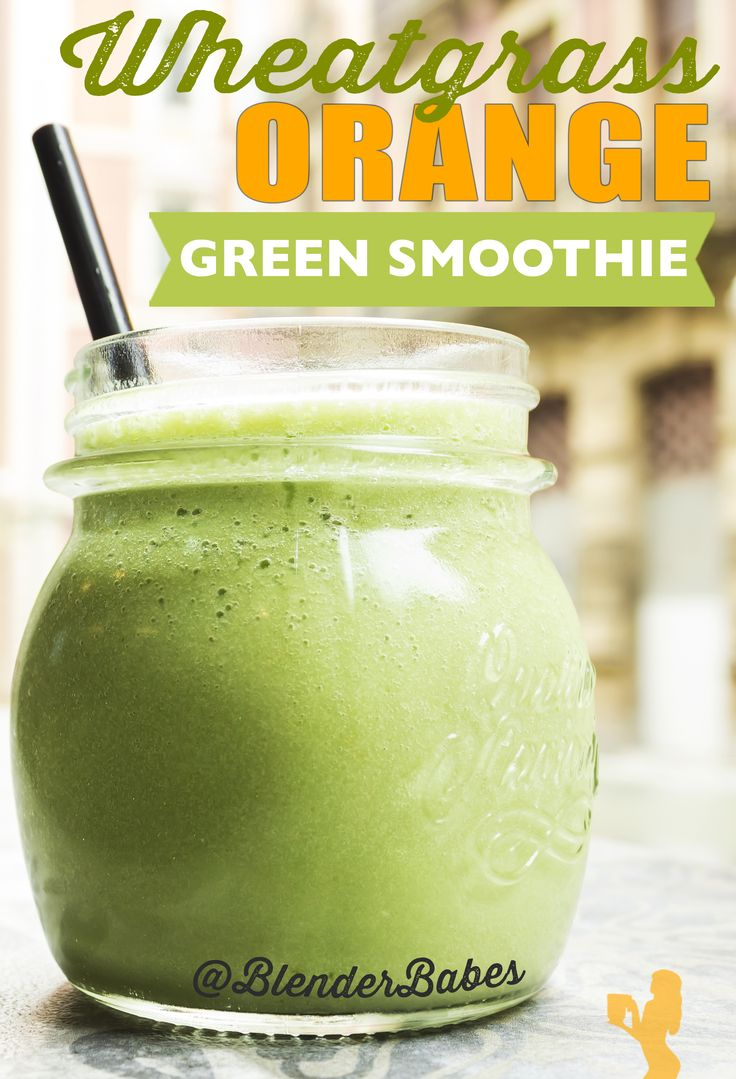 Wheatgrass Orange Green Smoothie Recipe from @BlenderBabes | High in vitamin C, vitamin A, folate, and manganese, this orange wheatgrass smoothie recipe is a creamy, sweet, and refreshing introduction to wheatgrass!
