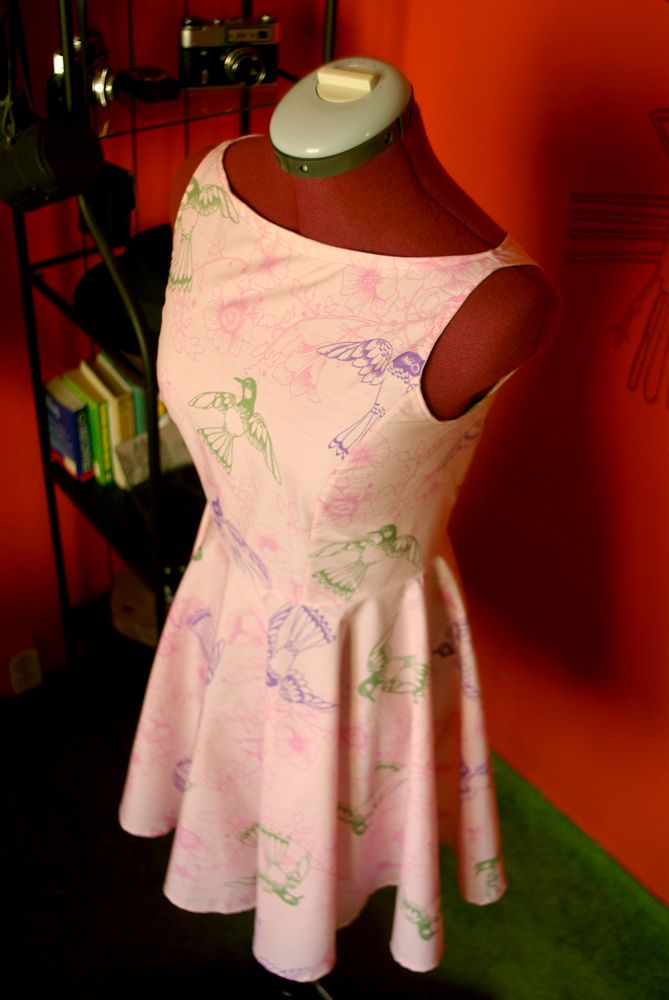 Birds of paradise retro dress