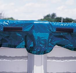 Pool cover clips hold down winter pool covers on above-ground swimming pools. Protect your above ground winter pool cover from wind damage w...