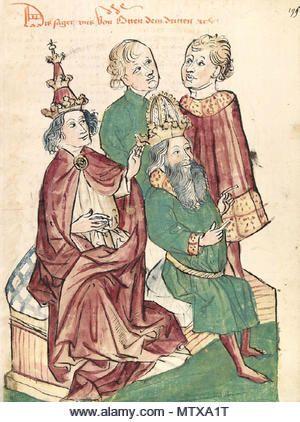 .  Deutsch:  Otto III. wird von Papst Gregor V. zum Kaiser gesalbt Werkstatt des Diebold Lauber, unbekannter Künstler, um 1450 Zeichnung (ganzseiti…