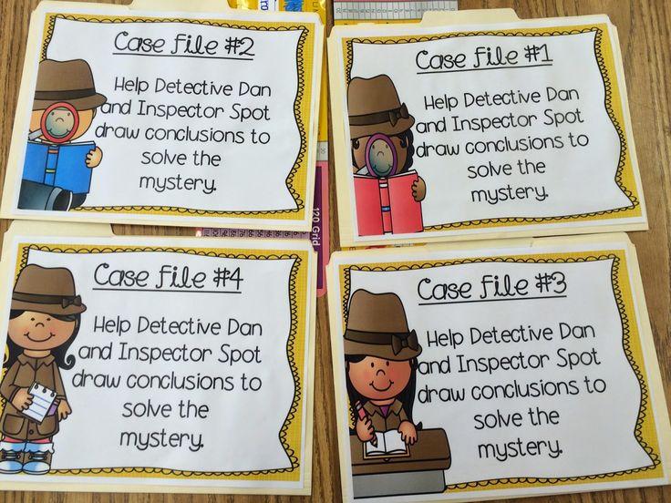 Drawing Conclusions investigations activity with Detective Dan and Inspector Spot