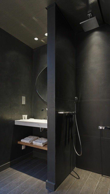 Jolie Faience Noire Salle De Bain Plus Schwarzes Badezimmer Kleine Badezimmer Design Badezimmer Innenausstattung