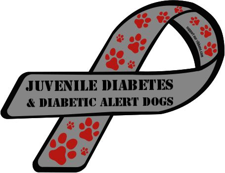 Custom Ribbon: Juvenile Diabetes   & Diabetic Alert Dogs
