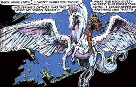 While she was there, Dani rescued a winged horse from hunters. Mirage had an immediate psychic rapport with the horse, which she named Brightwind after her pony on Earth, and the horse selected her to be his rider. Brightwind was one of the herd of flying horses that are ridden by the female warriors, the Valkyries. The bonding between Moonstar and Brightwind bestowed part of their power upon Dani, and she gained the Valkyries' ability to perceive the coming of death.