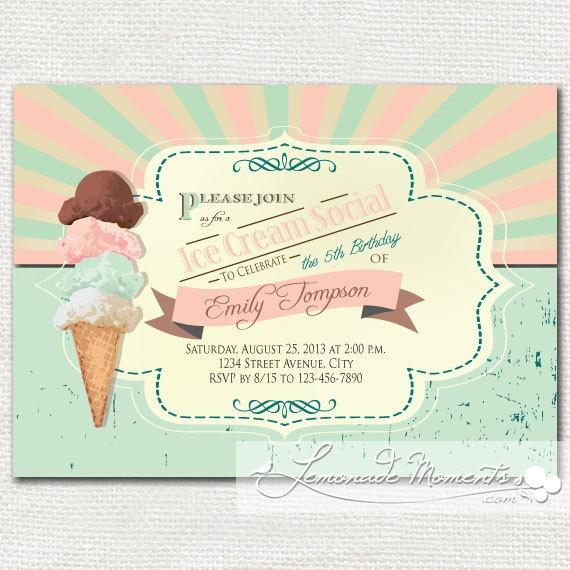 cream Retro invitations ice social