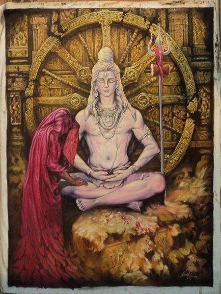 Sunil Kapoor Original Hand-Painted Art Painting Online. Subject-The Moksha, Surface-Canvas, Medium-Oil, loard shiva paintings, Shiva paintings, death, salavaion, Hand-Painted, Oil Painting,Artwork,Buy Painting Online