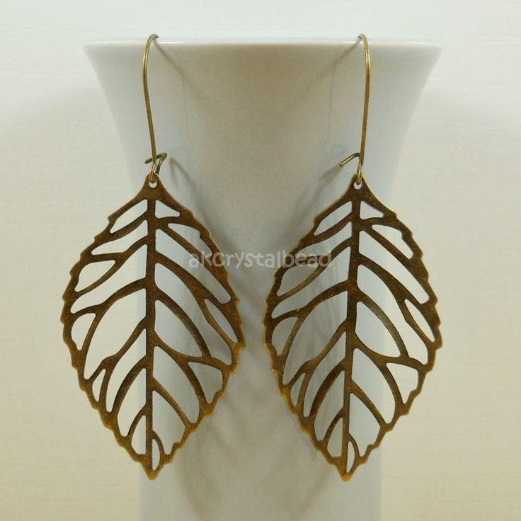 Large leaf charm bronze earrings MTP0005