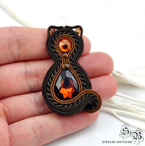 Colgante gato negro gato collar joyería de por SBjewelrySoutache
