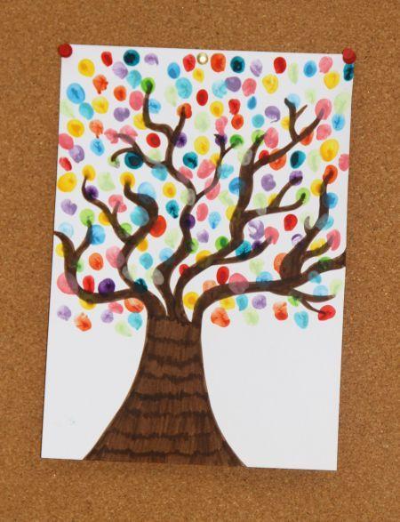 Print Tree Onto Paper Kids Paint Leaves With Coloured Fingerprints