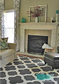 Patterned rugs and mantel accessories add flare to your living room décor!