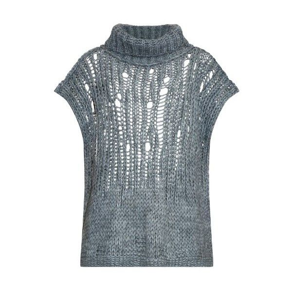 VIVIENNE WESTWOOD ANGLOMANIA Shredded-knit roll-neck sweater (2.890 ARS) ❤ liked on Polyvore featuring tops, sweaters, knitwear, light grey, roll neck sweater, cap sleeve top, cap sleeve sweater, knit tops and chunky sweater