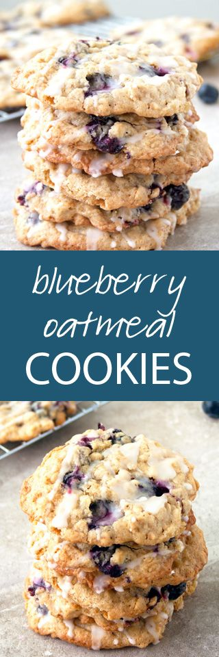 Blueberry Oatmeal Cookies with a Fresh Lemon Glaze | ahappyfooddance.com