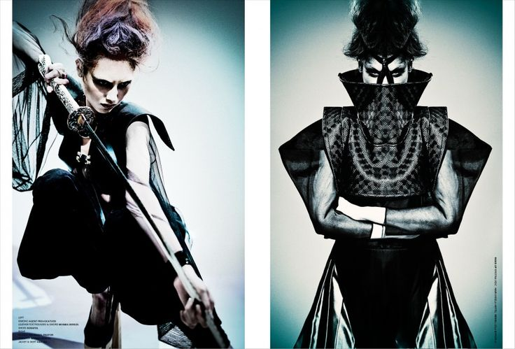 Feral Child | DRAMA Magazine Photography:Fabrice Jacobs  Styling: Magdalena Marciniak  Designs by #AsiaWysoczyńska  On the right: silk pleated skirt or opulent taffeta, from the Samurai culture inspired 'HEroSHE, TheWarrior; silk jacket with elaborated sleeves of organza (BlackButterfly collection).