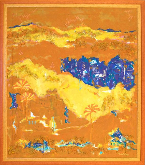Large abstract print yellow ochre blue giclée by MarilionFineArt