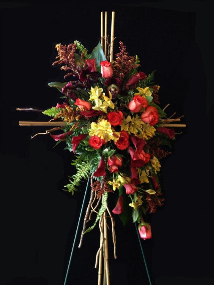 Rustic cross sympathy tribute by Alice Woodside Lynch for Bennett's Flowers…