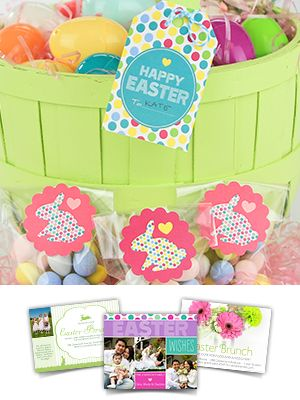 Free printable Easter basket tags from Smilebox