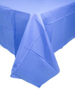 This Blue, Embossed Paper Tablecloth Has A Waterproof Plastic Back To  Protect Your Table From
