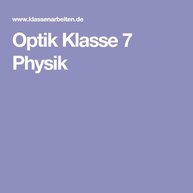 Optik Klasse 7 Physik