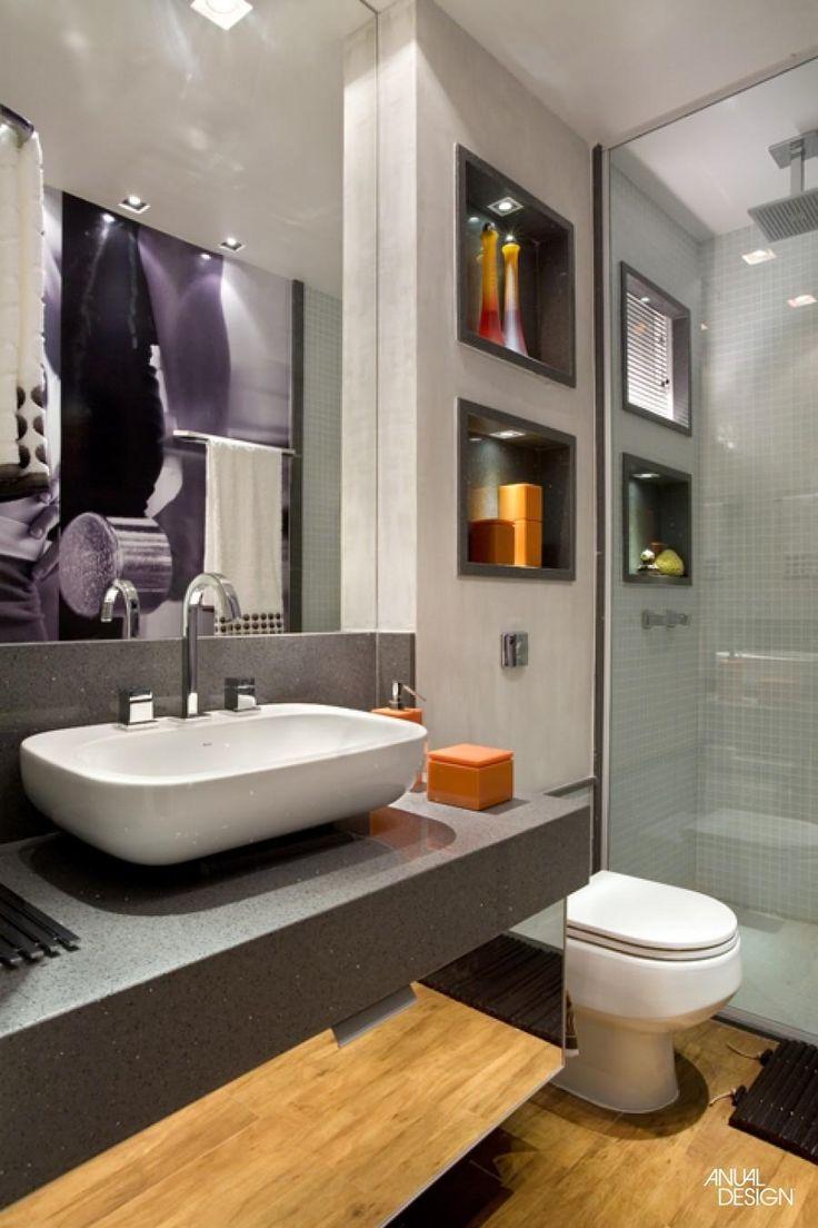 +1000 ideias sobre Banheiro Cinza no Pinterest  Casas De Banho Cinzas, Gabin -> Banheiro Decorado Cinza