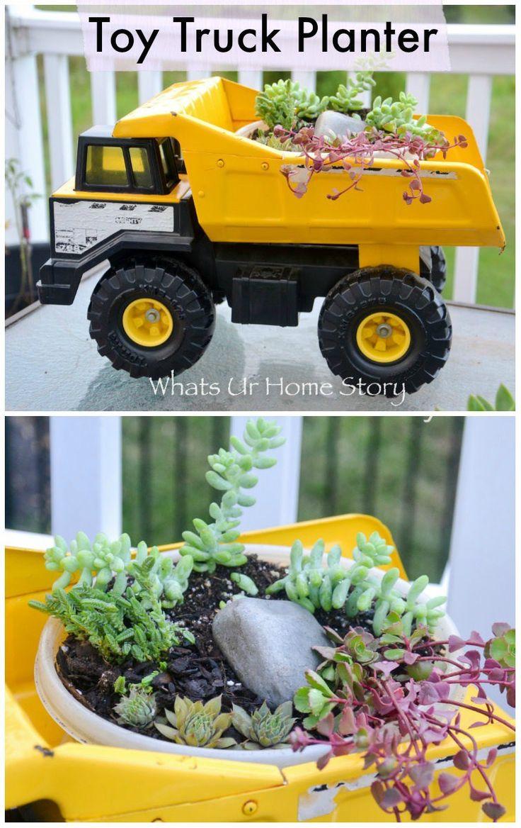 Unique diy home garden decor with a shoe planter and succulents - Succulent Toy Truck Planter