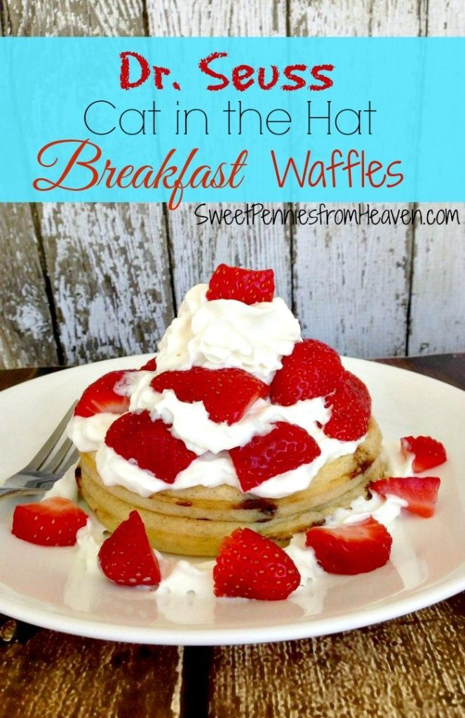 Dr. Seuss Cat in the Hat Breakfast Waffles. Super duper easy and a breakfast the kids will love! It's a fun way to celebrate Dr. Seuss week!