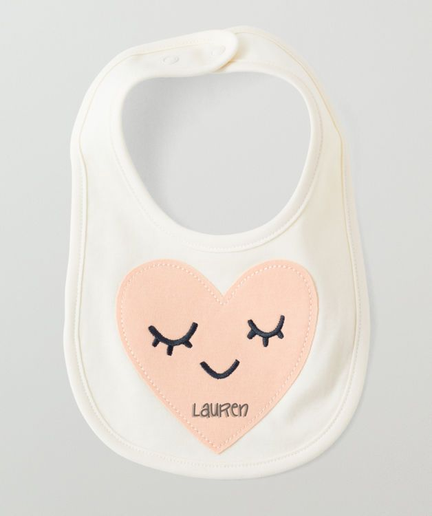 Personalized Baby Bib Pink Heart