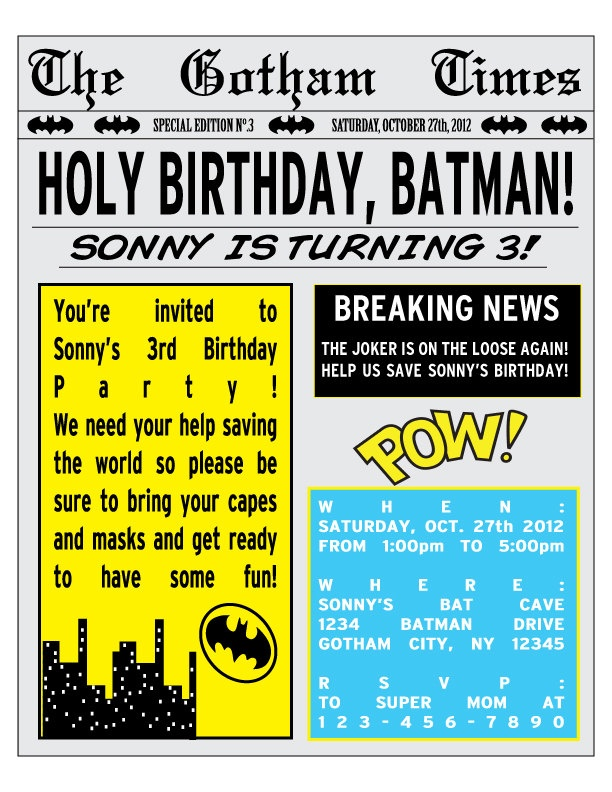 PRINTABLE Batman Birthday Party Newspaper Invitation Black Friday