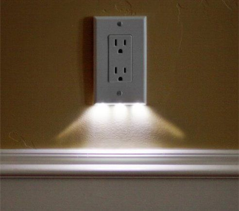 these night light outlet covers use $0.10 of electricity per year and require no additional wiring. would be great for hallways.